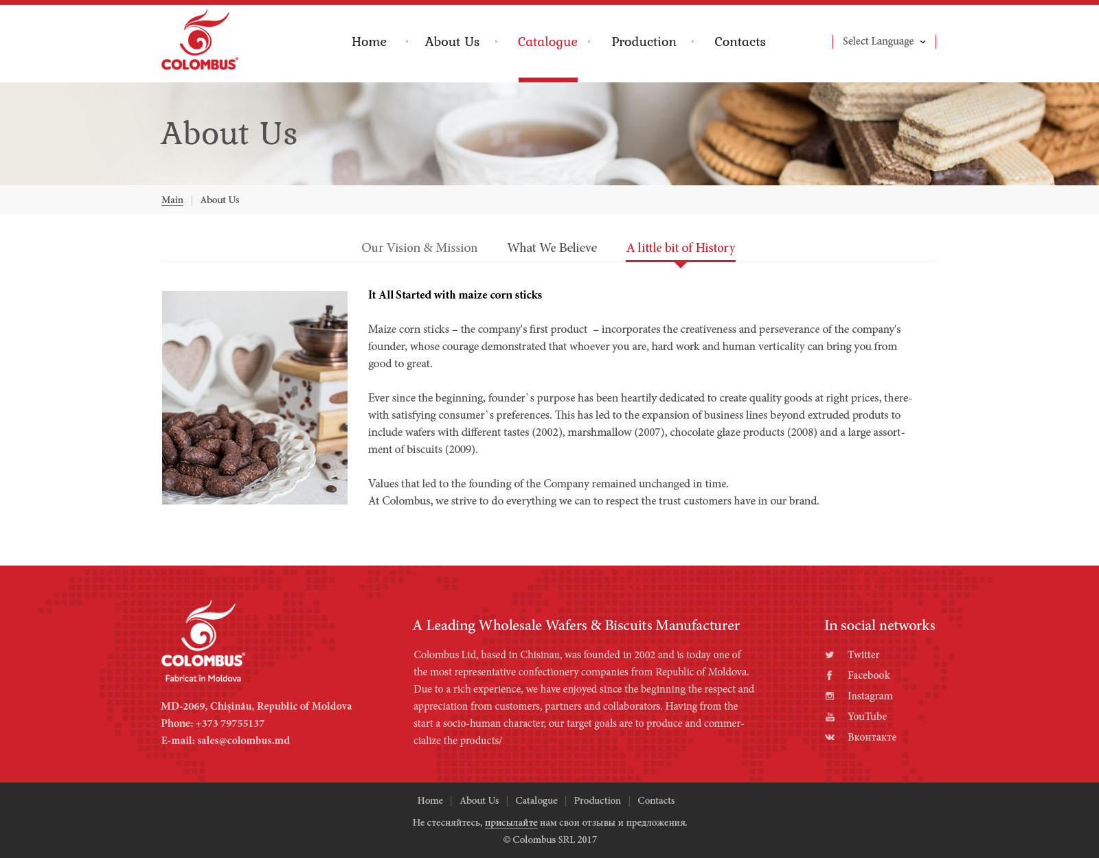 Website-catalogue for Colombus company